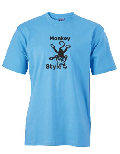 T-Shirt Monkey Style hellblau