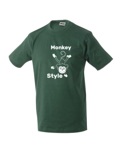 T-Shirt Monkey Style dunkelgrün
